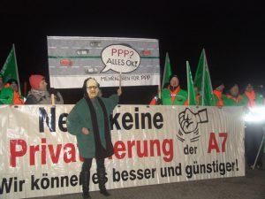 Aktion gegen Autobahn-ÖPP von GiB und VdStra. Bild: GiB